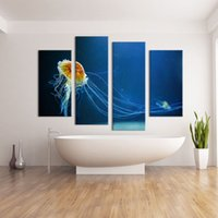 Wholesale Diy Canvas Painting Set - 4 Panel ocean arts living rooms set Wall painting print on canvas for home decor ideas paints on wall diy painting by numbers