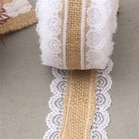 10M Natural Jute Burlap Hessian Lace Ribbon Roll + White Lace Vintage Wedding Decoration Party Decorations Ремесла Декоративные