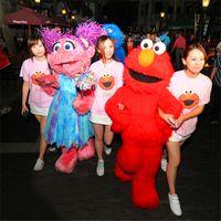 elmo kleider großhandel-Kostüme für Männer Kostüme Cosplay Red Sesame Street ELMO Cartoon Kleidung Maskottchen Kostüm Fancy Dress Cartoon Red Kostüme