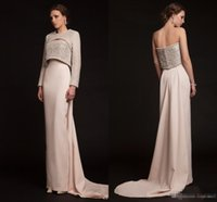 Wholesale Elegant Short Feather Prom Dresses - Krikor Jabotian 2018 Luxury Long Beaded Evening Gowns Elegant Jacket Long Sleeves Crystal Pearls Newest Modern Celebrity Prom Party Gowns