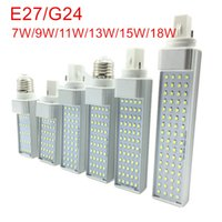 Wholesale E27 Pl - E27 G24 5W 7W 9W 11W 13W 15W 110V 220V Horizontal Plug lamp SMD2835 Bombillas LED PL Corn Bulb Spot light Lighting