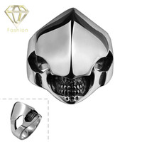 Wholesale Alien Punk Ring - 2016 Rock Style Gothic 316L Stainless Steel Alien Ring Punk Vintage Retro Monster Jewelry for Men Wholesale