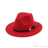 moda clássica elegante venda por atacado-Nova Moda sentiu jazz chapéus Clássicos chapéus TOP para mulheres dos homens Elegantes Sólida sentiu Chapéu Fedora Banda Larga Plana Brim Elegante Trilby Panamá Tampas