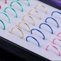 Wholesale Nose Piercing Nostril - 40 Pieces Medical Nostril Titanium Nose Hoop Nose Rings clip on nose ring Body Fake Piercing Bijoux Jewelry For Women