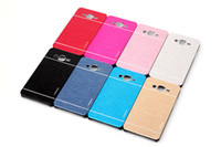 Wholesale Cover Case Galaxy Trend Duo - Motomo Aluminum Metal + PC Brush Cell Phone Case Cover For Samsung Galaxy Grand Core Prime G360 Ace4 Alpha G850 Trend G350 J5 J7 Duos S7562