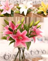 Wholesale Wholesale Calla Lily Silk Flowers - silk flowers calla lilies HI-Q 11pcs 3 heads real touch PVC artificial lily silk decorative flower for wedding decoration gift