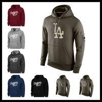 Wholesale Kc Mens - Men Los Angeles sweatshirts dodger warm winter Pullover royal hoodies brown red wine black Mens watching game KC letter hoodie Size M-XXXL