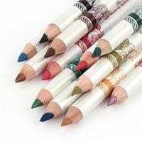 Wholesale Eyeliner Colors Waterproof - 12pcs lot 12 Colors Waterproof Plastic Glitter Emerald Eyeliner Lipliner Lip Eye Liner Pencil MakeUp