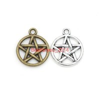 Wholesale Tibetan Number Charms - Tibetan Silver Plated Star Pentacle Charm Pendants for Jewelry Making Findings DIY Accessories Craft Handmade 20x17mm