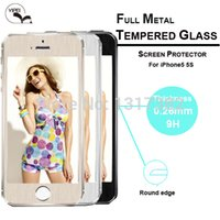Wholesale Iphone5 Metal Protectors - For Apple iphone 5 5S Metal Tempered Glass Screen Protector Colorful 9H 0.3mm Phone Film for apple iPhone5 5S