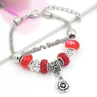Wholesale Crystal Disco Ball Jewelry Set - 3 Colors New Arrival Valentine Jewelry PDR European Bead Charms CZ Pave Disco Ball Red Crystal Shamballa Bracelet Fashion Jewelry Wholesaler