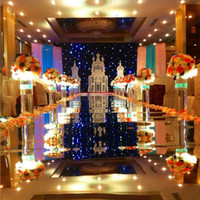 Wholesale Mirror Side Tables - 30m Per Lot 1m Wide Wedding Ceremony Centerpieces Decoration Mirror Carpet Aisle Runner With Gold Silver Double Side Free Shipping