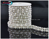 Wholesale Pearl Chain Roll - LY11929, NEW ARRIVAL! Rhinestone mesh chain,sew on 5mm pearl and crystal beads in claw,MOQ:1 roll, rhinestone trim Free shipping