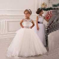 Wholesale Baby Girl Dresses Blue Lace - 2015 Summer Flower Girls' Dresses for wedding Vintage ball gown Sash Lace Net Baby Children Girl Birthday Party Christmas Princess gowns