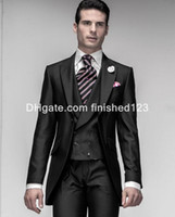 Wholesale Mens Shiny Gray Pants - Shiny Black One Button Groom Tuxedos Peak Lapel Mens Blazer Wedding Clothing Prom Suit (Jacket+Pants+Vest) G969