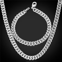 Wholesale Black Curb Chain Necklace - U7 Layered Curb Link Chain Necklace Bracelet Set 18K Real Gold Rose Gold Platinum Black Gun Plated 6 Sizes Fashion Men Jewelry Accessories