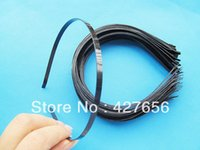 Wholesale Wholesale Metal Headband Blanks - 500pcs 5mm Wide Metal Black Blank Headband Hairband Pendant Charm Finding, DIY Fashion Jewelry Accessory