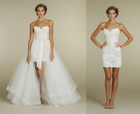 Wholesale Short Sweetheart Beach Wedding Dresses - 2016 Convertible Lace Wedding Dresses A Line Wedding Gowns with Detachable Long Skirt Custom Made Sheath Sheath Bridal Dresses Cheap