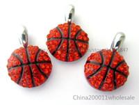 Wholesale Rhinestone Pet Charms - 10pcs Basketball Rhinestone Hang Pendant Charms Fit Pet Collar Phone Strips
