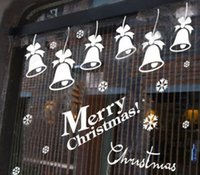 Wholesale Sliding Door Stickers - Christmas Wall Stickers Wallpaper Rolls Removable Stickers Hotel Shopping Glass Sliding Door Shop Window New Year Christmas Snowflake