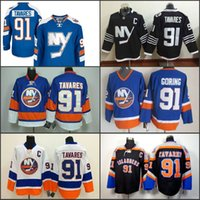 Camisas de hóquei 2016 New York Islanders de hóquei # 91 John Tavares Jersey Royal Blue White Novo Alternate Black Premier Player C Patch