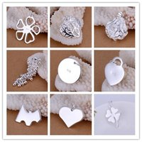 Multi Styles 925 Pratos de prata esterlina Rose Flower Uva Etiqueta de cão Coração Round Circle Pendant Pendente de Clover Charm Fit DIY Necklace