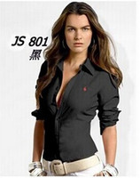 Wholesale Hot Ladies Blouses - Hot selling Women brand poIo shirt lady long sleeves overshirt wholesale and retail OL blouse OUTWEAR