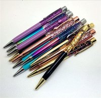 Wholesale Colorful Crystal Ballpoint - Creatively 1.0mm Luxury Ballpoint flow oil crystal Gold foil Metal Copper colorful high-grade gold powder quicksand pen