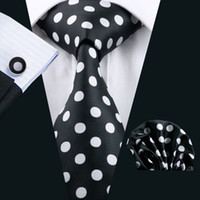 Fast Shipping Black Tie White Dot Mens Tie Pocket Square Cufflinks Set 8.5cm Meeting Business Casual Party Necktie Jacquard Woven N-1190