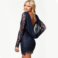 Wholesale Dress Sexy Xxl Neck - Wholesale-vestido de renda black lace dress 2016 robes femmes long sleeve maxi dresses backless sexy club red plus size women clothing xxl