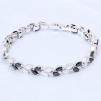 Wholesale Gold Bracelets For Health - Black onyx Crystal Leaves design 18K white Gold Plated charm bracelets for women Health Fashion jewelry TB445A Free shipping