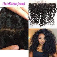Wholesale indian virgin front closure for sale - Group buy Cheap Mongolian Deep Wave Lace Front Closure With Baby Hair X4 Virgin Human Hair Full Silk Base Lace Frontal Deep Curly G EASY Hair