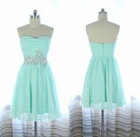 Wholesale Green Strapless Summer Dress - Simple Short Mint Green Bridesmaid Dresses Cheap Under 50 Real Strapless Beads Chiffon Summer Beach Bridesmaid Dresses Party Gowns