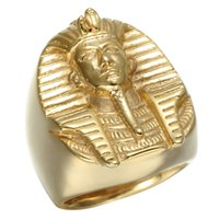 Wholesale Egyptian Rings - CWFY Gold Color Mysterious Egyptian Pharaoh Rings Rock Titanium Stainless Steel Mens Signet Bling Ring for Men Jewelry