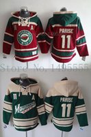 Wholesale Double Outlet - Factory Outlet, Minnesota Wild #11 Zach Parise Jerseys Old Time Men's Double stiched Hoodies Hockey Jersey Green Sweatshirt