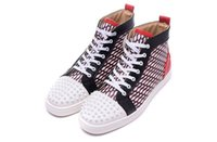 Wholesale Grey Background - Luxury Brand Red Bottom Sneakers white Suede with Spikes Casual Mens Womens Shoes Wavy background Trainers Footwear Flat Shoes 36-46