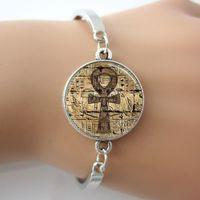 Wholesale Egyptian Rings - Egyptian Ankh Eternal Life Symbol Glass Dome Jewelry Bracelets Bangle Plated antique silver Charm,Rhodium Circle 2015 New Bangle