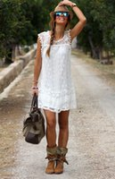 Wholesale Women Short White Cotton Dress - Sexy Womens Summer lSleeveless Evening Party Cocktail Lace Short Mini Dress S-2XL QZ3016