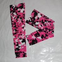 Wholesale Orange Awareness - Pink black white baseball awareness arm sleeve Moisture Wicking Compression Sports Digital Camo Baseball Flame skull