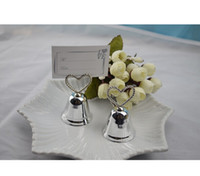 "Wholesale Kissing Photo - ""Kissing Bell"" Place Card Photo Holder Heart Bell Place Card Holder+100pcs lot+Wedding Party Decoration Favors"