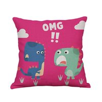 Wholesale Dinosaur Pillows - muchun Brand Pillow Case for Christmas Gift Lovely Dinosaur Cotton Linen 45*45cm New Year Product Home Textiles Decorative Pillow Cover