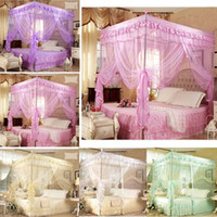 Wholesale Romantic Queen Size Bedding - Romantic ! 4 Corner Post Bed Canopy Mosquito Twin Sizes Netting (No Bracket)