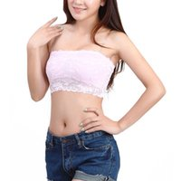 Wholesale Sexy Bra Boobs - Women's Bra Sexy Lace Bra Casual Crop Boob Tube Top Bandeau Bra Strapless Seamless Solid Black White Pink Nude 10