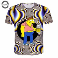 Wholesale Bart Simpson Tshirt - w1219 OPCOLVthe with beer t shirt for women men 3d cartoon bart simpson t-shirt funny Graphic TShirt casual sport tops summer