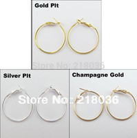 Wholesale 14k gold filled hoop - 100Pcs Vintage Gold   Silver Fashion Jewelry Lot Circle Basketball Wives Hoops Earrings For Women 40mm A1773 DIY Metal