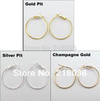 кружки серьги diy оптовых-Старинные золотые / серебряные ювелирные изделия много круг баскетбол жены обручи серьги для женщин 40 мм A1773 DIY металл