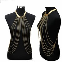 Wholesale Sexy Body Necklace - Gold Sexy Body Chain Women Necklaces&Pendants Tassel Alloy Punk Long Necklace 2015 New Designer Female Fashion Jewelry
