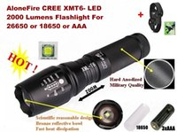 Wholesale Cree Led Torch Mount - Alonefire E26 Hard anodized CREE XM-L T6 2000Lumens 5-Mode LED Flashlight Torch For 26650 or 18650 or AAA Battery + Mounts