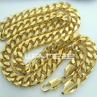 Wholesale Solid Brass Rings - 18k yellow gold GF curb ring link solid mens women long necklace jewellery N223