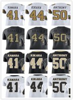 # custom # men / youth / women # 41 Alvin Kamara 44 Kikah 50 Stephone Anthony Black Maglie bianche